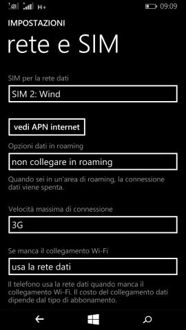Dual SIM Tre - Wind dati Wind 3G