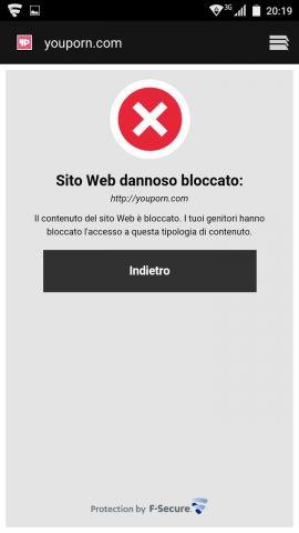 F-Secure SAFE: sito porno bloccato