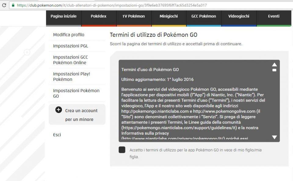 Pokémon GO termini d'uso