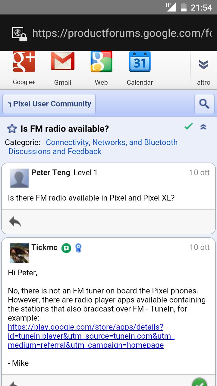 Pixel e Pixel XL non hanno la radio FM